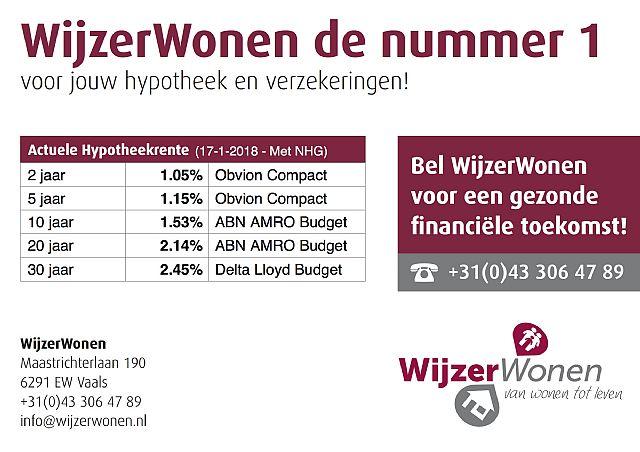 WijzerWonen - Hypotheken: actuele hypotheekrentes (17-01-2018 met NHG)